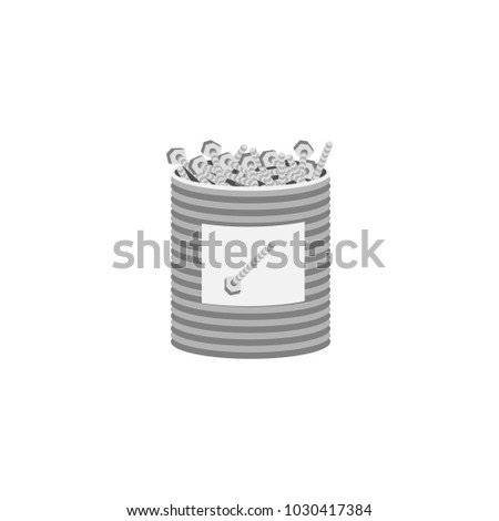 Vector flat design illustration set of craft, tools and equipment - screw in box.Isolated on stylish white background