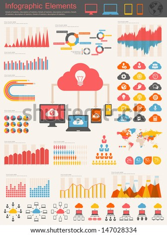 Vector flat design infographic elements collection. Cloud computing with bulb vector illustration with various of infographic elements as charts, diagrams and infographic map for data visualization.
