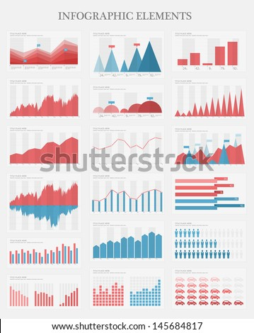 Vector flat design infographic elements collection. The collection includes various of vector infographic elements as bar charts, diagrams for data visualization.