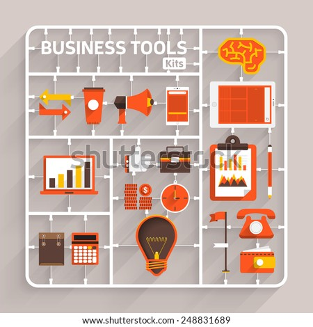 Vector flat design model kits for Business tools. Element for use to success creative thinking