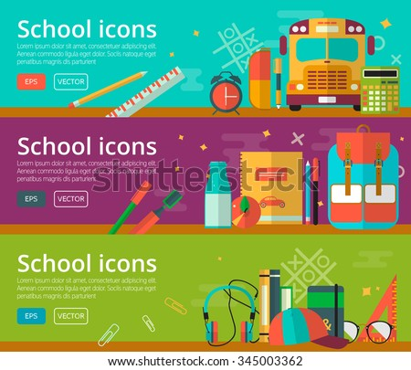 Vector flat design of education concepts. Horizontal banners with school objects. Back to school background for web and promotional materials. Education school icons set.  - stock vector