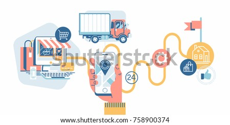 Vector flat design on online shopping and delivery tracking using mobile device
