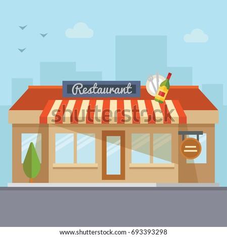 Vector flat design restaurant