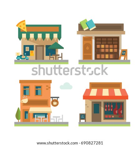 Vector flat design restaurant and store set
