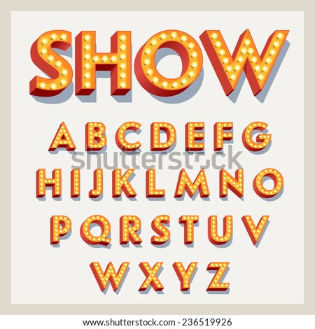 Vector flat design retro volumetric signboard letters with light bulbs | Vintage 3d red marquee lit up letters full alphabet with shadow effect, bright background