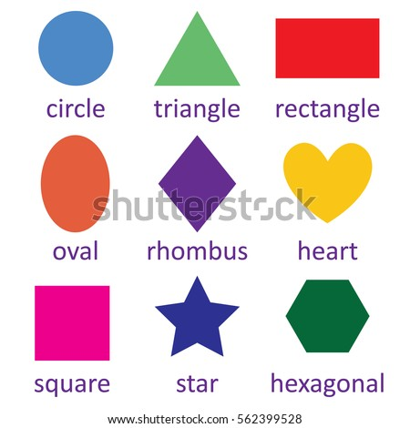 Vector flat design, Set of geometric shapes square, circle, oval, triangle, hexagon, rectangle, star,heart,rhombus