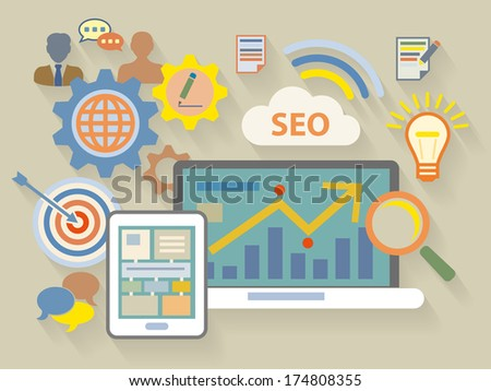 Vector Flat Design style illustration of website analytics search information concept - stock vector