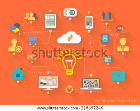 Vector Flat Design style illustration of website analytics search information concept