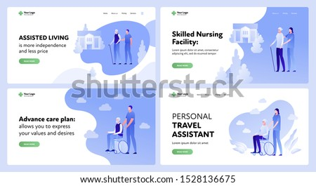 Vector flat elder medicine care landing page template set. Illustration of nursing old people assistance. Concept of medical plan, assisted living. Design for website, app, banner, poster.