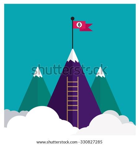 vector flat flag on mountain
