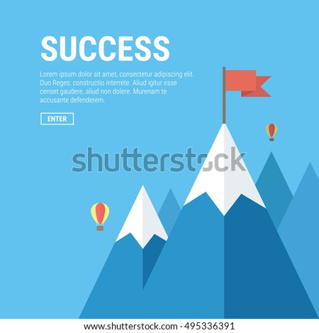 Vector flat flag on mountain. Success illustration. Goal achievement. Business concept. Winning of competition or triumph design. our mission brochure title page template vector illustration