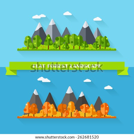 Vector flat forest and mountain landscape. Set of trees in summer and autumn seasons. Nature illustration in flat style. Outdoor scene collection. Cartoon view banner