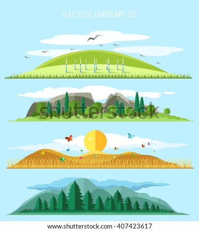 vector flat forest view flat