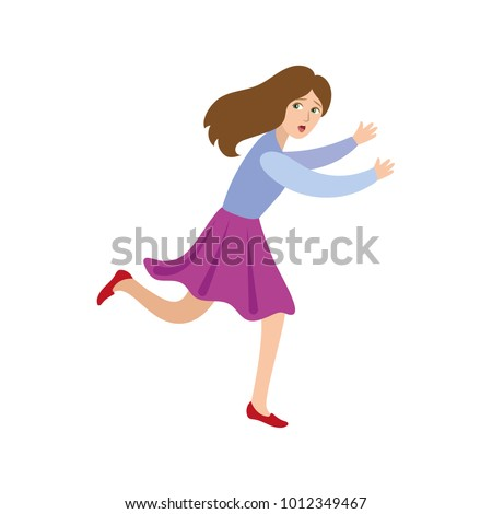 Vector flat frightened teenage girl in skirt running away. Female cartoon character chasing looking back scared, afraid of something in panik. Isolated illustration, white background. Stock fotó ©