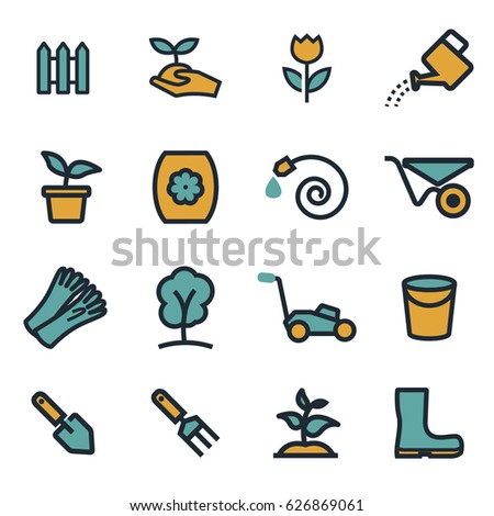 Vector flat gardening icons set on white background