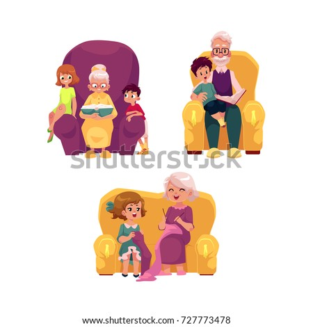 vector flat grandparents ,children set. boys, girls kids sitting with grandmother, grandfather at armchairs listening to reading book, learning to knit . Isolated illustration on a white background.