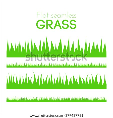 Vector flat grass set isolated on white background. Horizontal seamless grass in cartoon style. Green grass pattern for illustration and game design. Abstract grass. Spring fresh grass kit. Brush.
