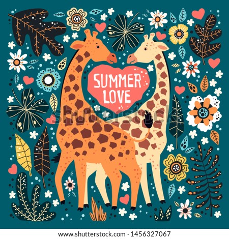 Vector flat hand drawn illustrations. Cute giraffes surrounded by tropical plants and flowers. Lettering: Summer Love. Isolated objects for your design. Each object can be changed and moved.