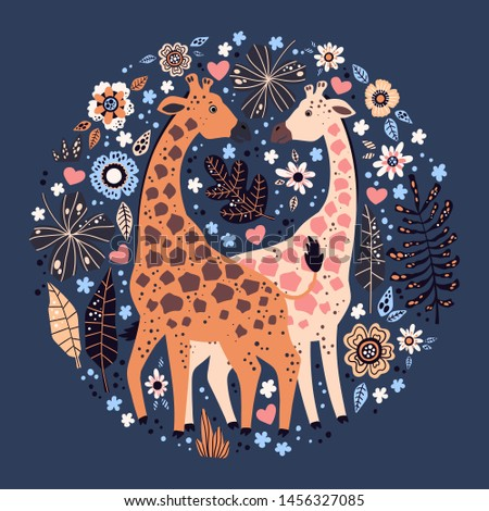 Vector flat hand drawn illustrations. Cute giraffes surrounded by tropical plants and flowers. Isolated objects for your design. Each object can be changed and moved. #1456327085