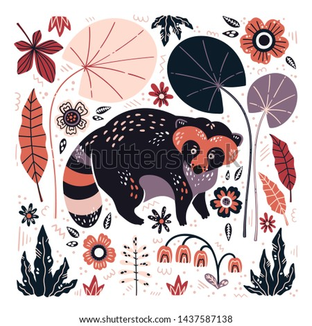 Vector flat hand drawn illustrations. Cute raccoon surrounded by plants and flowers. Isolated objects for your design. Each object can be changed and moved.