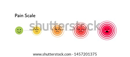Vector flat horizontal pain measurement scale. Color from green to red icon set of emoji on circle pain symbol. Five gradation form no pain to unspeakable Element of UI design for medical pain test.