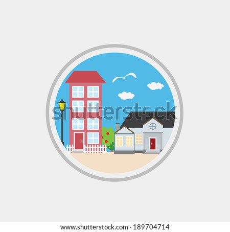 vector flat houses and trees, design elements, street