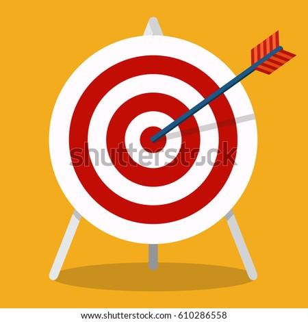 vector flat icon. arrow hitting ...