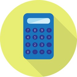 vector flat icon digital calculator Looks like a blue plastic isolated on a greenish yellow background with long shadow. It is used for calculating. Suitable for businessmen, students, vendors.