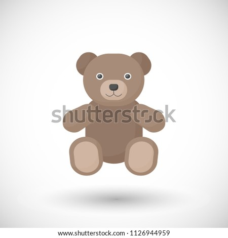 Vector flat icon of teddy bear toy, flat design of kid toy with round shadow isolated on the white background, vector illustration