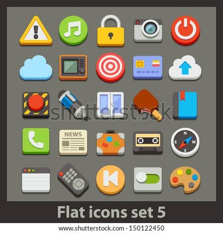 vector flat icon-set 5 - stock vector