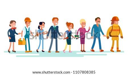 Vector flat icon set of people of different professions: stewardess, carpenter, doctor, office worker, hairdresser, firefighter, teacher, masseur