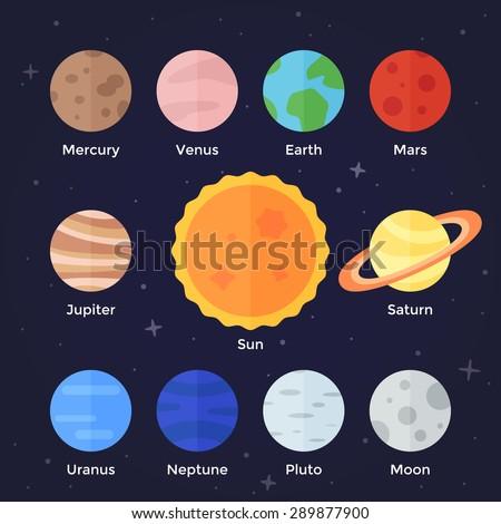 Vector flat  icon set of solar system planets, sun and moon on dark space background. Mercury, venus, earth, mars, jupiter, saturn, uranus, neptune, pluto, stars and sun.