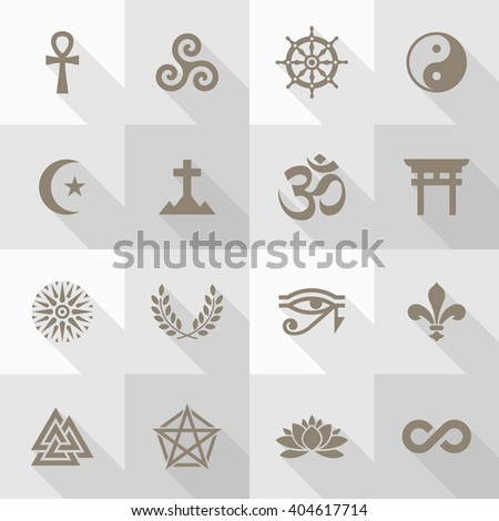 Vector Flat Icon Set - Spirituality Symbols  #404617714