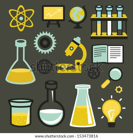 Vector flat icons and sign - science and education - test tubes and chemistry elements