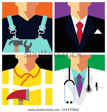 Vector Flat Icons Design 4 Occupations \