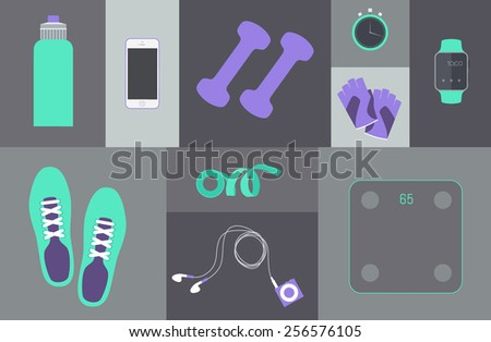 vector flat icons set of