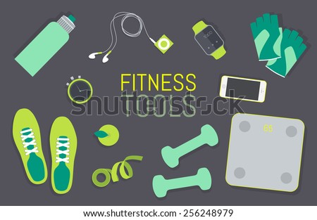 Vector flat icons set of fitness tools. Gym bag essentials, top view.