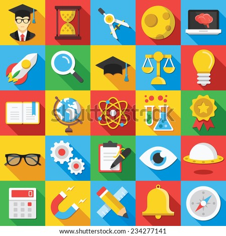 Vector flat icons set with long shadow for web and mobile apps. Creative modern colorful illustrations, elements, objects, elements,ideas,concepts of science, school, college education, teaching, etc.