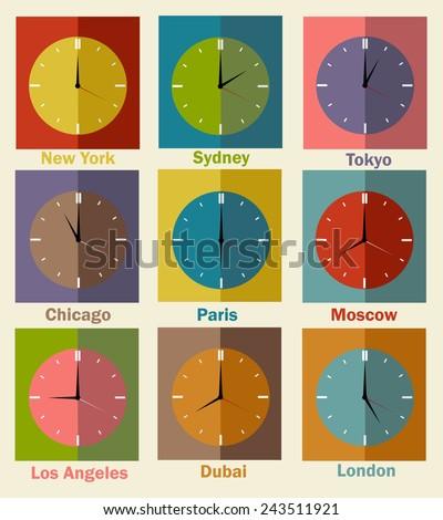 vector flat icons world clock