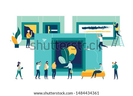 vector flat illustration. a group of people visit the gallery of modern art. art gallery museum. people at an exhibition of paintings