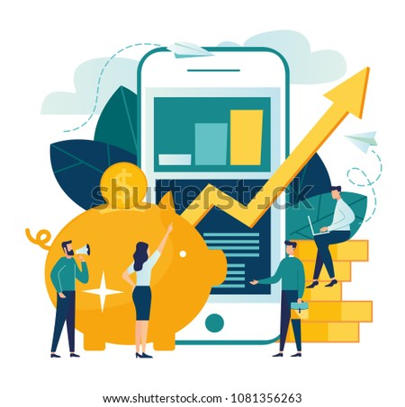 Vector flat illustration, a large piggy bank in the form of a piglet and a phone with a schedule, financial services, online savings or the accumulation of money, a coin box with falling coins, curren