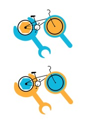 Vector flat illustration abstract Bicycle repair logo. It shows Bicycle with magnifying glass and wrench, which means repair and diagnostics, respectively. It can be used in banners, posters, etc.