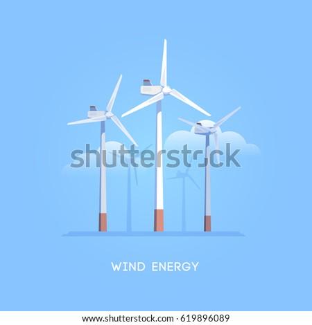 Vector flat illustration. Alternative sources of energy. Green energy. Windmills.