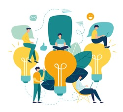 Vector flat illustration, business meeting and brainstorming, business concept for teamwork, searching for new solutions, little people are sitting on light bulbs in search of ideas vector