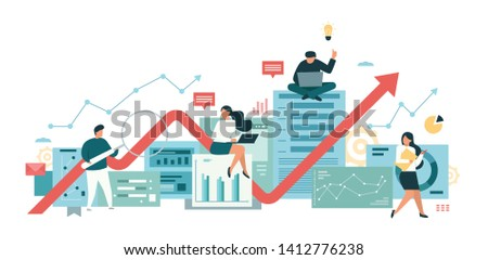 vector flat illustration, data analysis team, information management, teamwork marketing, conceptual of statistical research. modern banner design for website and application development