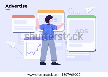 vector flat illustration digital marketing, advertise. people placing ads, ads space concept, website digital content ads, product ads, internet online promotion. with data analytics. UI/UX, banner.