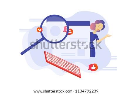 Vector flat illustration: Fact checking Communication via internet, journalist investigation, Investigative blogging banner. Investigative watchdog journalism or fact checking concept.
