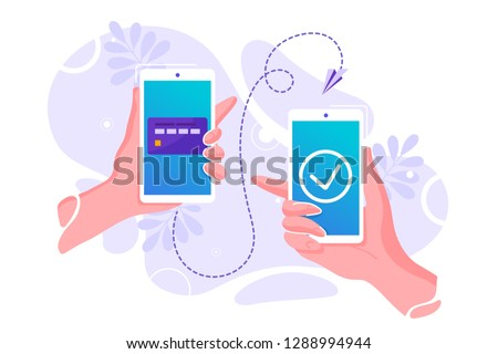 Vector flat illustration for mobile money transfer with human hands holding smartphone with credit card on its screen. Safe and easy payment concept. Perfect for mobile app banner, landing page design Stok fotoğraf ©