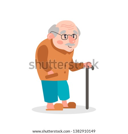 Vector flat illustration grandfather. Portrait of an old man.