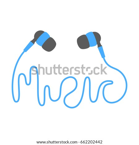 Vector flat illustration isolated blue earphone earbud icon with lettering on white background